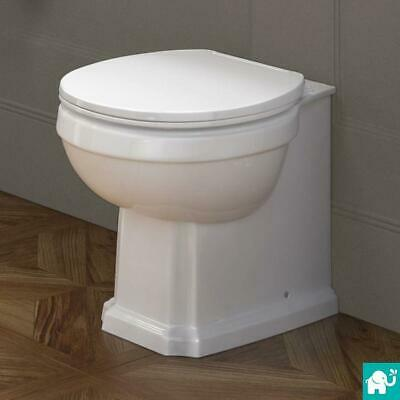 Traditional Ceramic Gloss White Back To Wall Toilet Bathroom WC Pan Seat