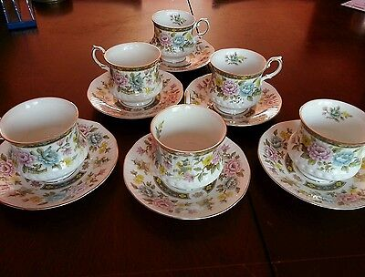 6 x Queens Fine Bone China CATHAY Cups & Saucers