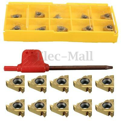 10PCS 11IR A60 Carbide Insert with Wrench For Threading Turning Tool Boring BAR