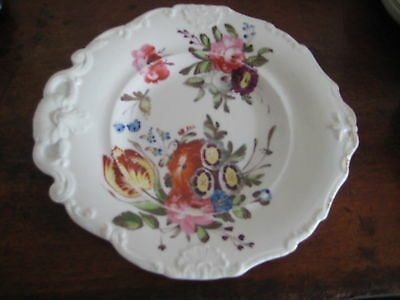 English Plate Rococo Design Raised Relief Plus Hand Painted Flowers