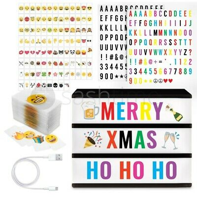 A4 Cinematic Light Up Letter Emojis Box Led Sign Wedding Party Cinema Shop Usb