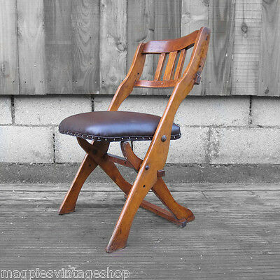 1930-40s Folding Drifter Chair Brown Traditional Leather Modernist Old Campagne