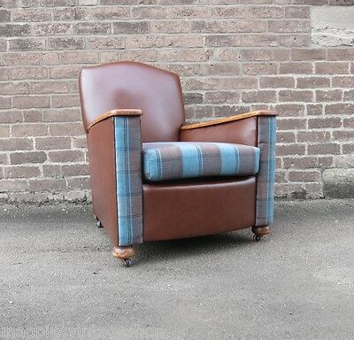 Leather Armchair 1930s Tub Seat Old fireside Chair Vintage Art Deco Brown