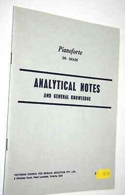 PIANO FORTE 5TH GRADE ANALYTICAL NOTES AND GENERAL KNOWLEDGE music book