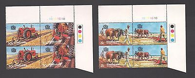 ZIMBABWE 1983 30th WORLD PLOUGHING CONTEST Farm 1B  BLOCKS MNH