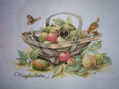 New Finished Completed Cross Stitch - Fruit basket - F98a