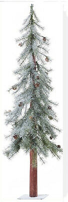 4 ft Icy Snow Pine Alpine Christmas Tree with Metal Base Pine Cones NEW XT4820
