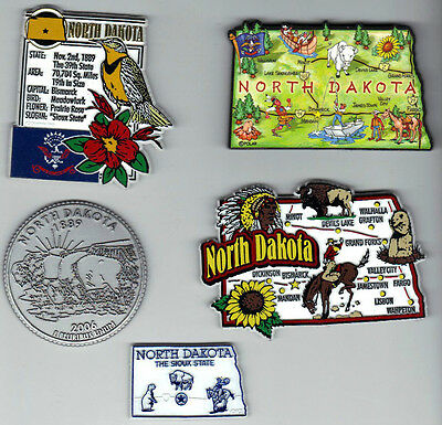 NORTH DAKOTA  SOUVENIR  5 MAGNET SET includes JUMBO ARTWOOD STATE MAP
