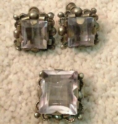 Vintage Mexico Silver Sterling Prong Ring & Earrings Set Large Clear Crystal Cz
