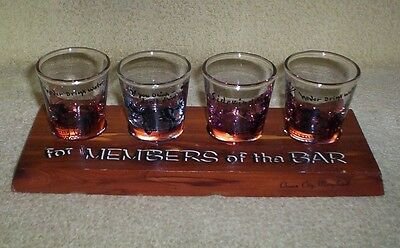Vintage Ocean City MD Souvenir - For Members of the Bar 4 Shot Glasses On Wood