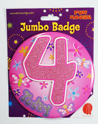4 Today Birthday Badge Age Jumbo Large Girls Party Decoration 4th Accessory
