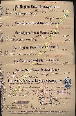 1921 LLOYDS BANK, Buckingham -  Seven Special District Council CHEQUES