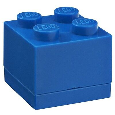 LEGO Brick Mini Box 4 BLUE Snack Food Container Lunch Storage Plastic