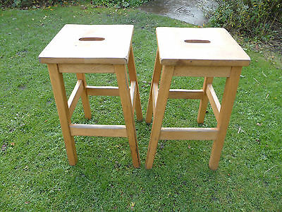 2 vintage beech lab stools with oblong tops. Strong + sturdy.