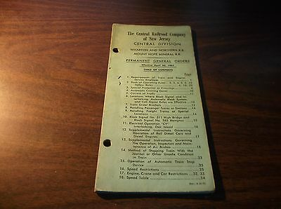 April 1961 Cnj Central Railroad Of New Jersey Central Div. General Orders