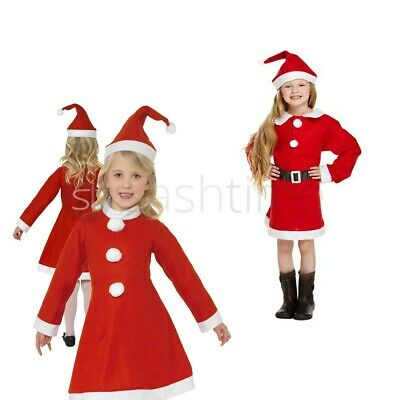 New Santa Girl Outfit Fancy Dress Costume Christmas Xmas Kids Girls With Hat