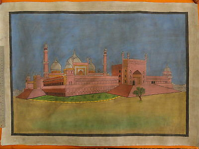 Islamic Holy Place Jama Masjid Hand Painting Delhi Colour Hand Painting Im391