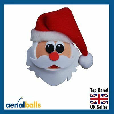 Xmas Christmas Jolly Santa Car Aerial Topper Ball Antenna or Dashboard Wobbler