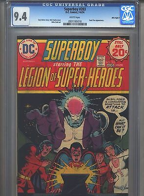 Superboy #203 CGC 9.4 (1974) Legion of Super-Heroes Mile High II White Pages