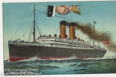 RMS Empress of Britain, Hands Across The Sea Shipping Postcard, B534