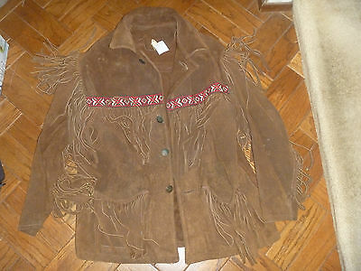 Native American Indian Chief Men's Thick Suede Cow Buck Beaded L Vintage Jacket