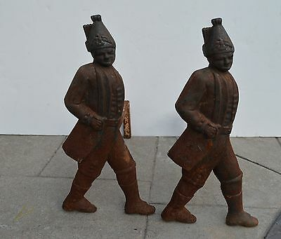 Antique Pair Of Cast Iron Hessian Soldier Fireplace Andirons Estate Found