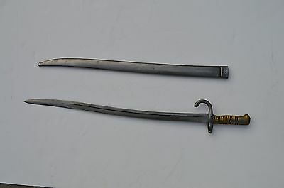Fine Antique French Chassepot Sword Bayonet With Scabbard Marked Ab 40312