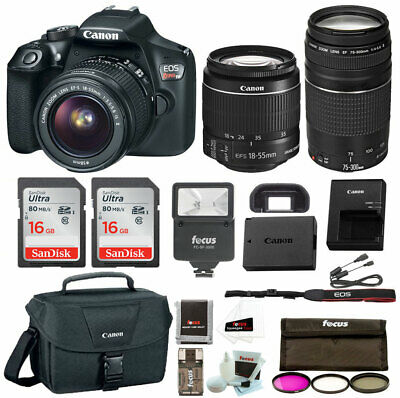 Canon Rebel T6 DSLR Camera w/18-55mm & 75-300mm Lenses Premium Bundle - US Model