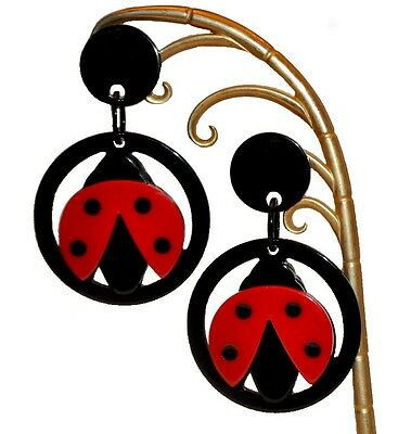 Exquisite Resin Marquetry Dangling Ladybug Clip On Earrings --Red Black