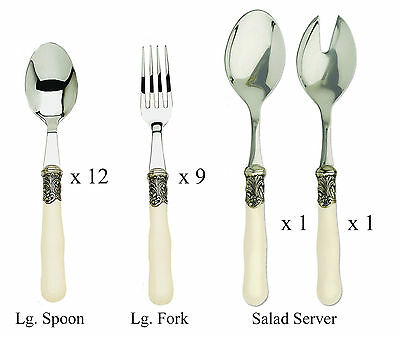 Cream Handle French Brasserie Spoons, Forks & Salad Servers