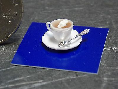 Dollhouse Miniature Cup of Cocoa with spoon  by Chrysnbon 1:12 1 inch scale  D67