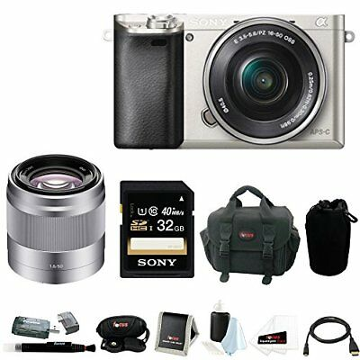 Sony Alpha a6000 24.3 MP Camera with 50mm Lens and Sony 32GB SDHC (Silver)