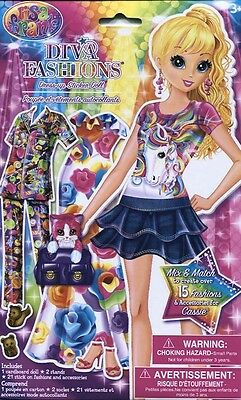 Lisa Frank Diva Fashions Paper Doll with Cassie Doll & Mix and Match Outfits