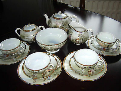 Vintage Oriental Hand Painted Japanese Eggshell Porcelain 16 Piece Teaset