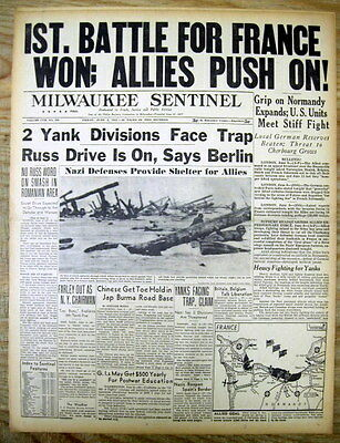 2 1944 WW II headline newspapers D-DAY Invasion of NORMANDY France by the ALLIES