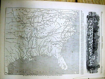 1861 Civil War illustrated newspaper w Lrg MAP of CONFEDERATE STATES OF AMERICA