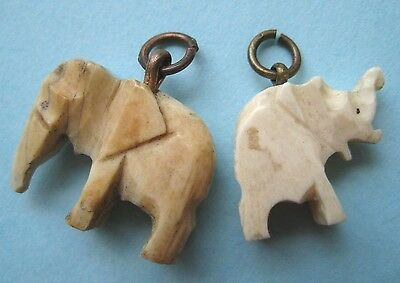 VINTAGE Carved Early 1900's ELEPHANT Charms Good Luck LOT of 2