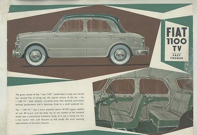 1954 Fiat 1100TV Fast Tourer Brochure ww3578