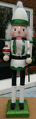 Christmas Nutcracker Large Deluxe Santa's Elf Pine Wood On Stand 40Cms Bnwt