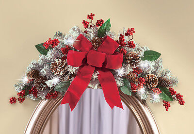 LED Lighted Red Bow Frosted Pine Christmas Floral Swag