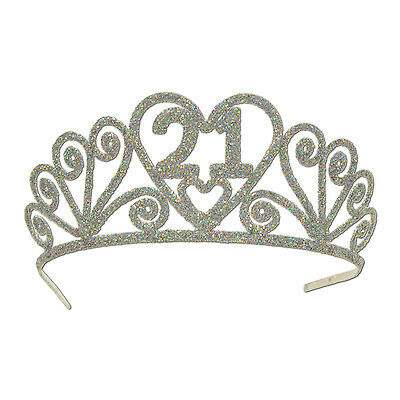 Glittered Glitter Silver 21St Twenty First Tiara Crown Party Supplies