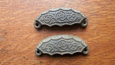 Two Antique Fancy Iron Victorian Eastlake Drawer Pulls Handles c1900 - Rare