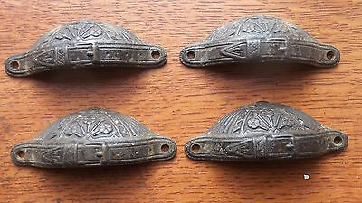 Four Antique Fancy Victorian Belt Buckle Drawer Pulls Handles Russell Erwin 1887