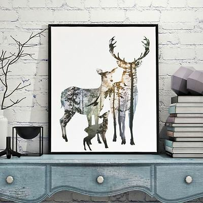 Deer Silhouette Canvas Art Print Painting Poster Wall Picture Home Decor JNEG