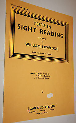 Tests In Sight Reading For Piano William Lovelock From First Grade To Diploma