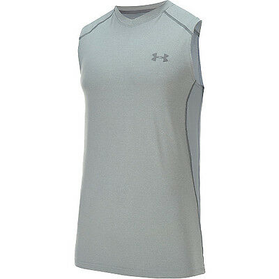 under armour mens heatgear raid sleeveless shirt grey gray steel pick size