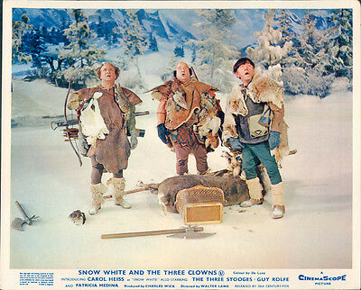 Snow White And The Three Clowns Stooges Curly Larry Moe Classic Lobby Card