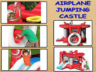 HAPPY HOP Airplane Jumping Castle with slide 9237