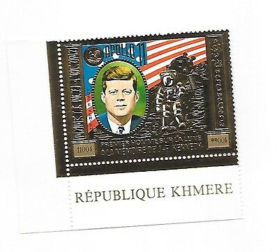 CAMBODIA Sc C44 NH ISSUE OF 1974 - GOLD FOIL - JFK - SPACE