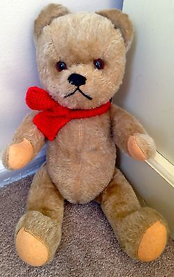 "14"" Antique Vintage Stuffed Schuco Teddy Bear With Working Push Squeaker-Nice Nr"